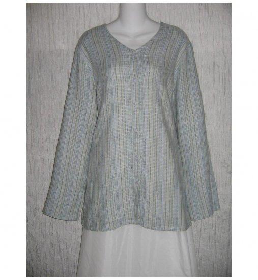 New FLAX Long Textured Blue LINEN Tunic Top Jacket Jeanne Engelhart Small S