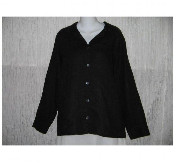 New FLAX Simple Black LINEN Button Shirt Tunic Top Jeanne Engelhart Small S