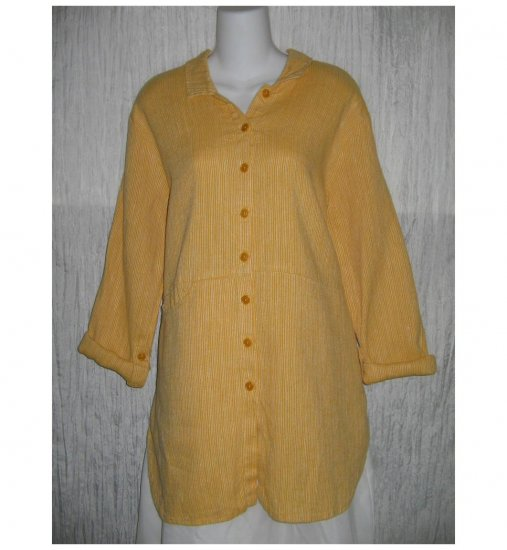 New FLAX Textured Gold Skirted LINEN Tunic Top Jacket Jeanne Engelhart Small S