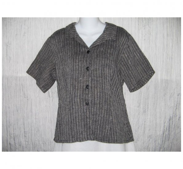 New FLAX Shapely Textured Black LINEN Shirt Jeanne Engelhart Small S