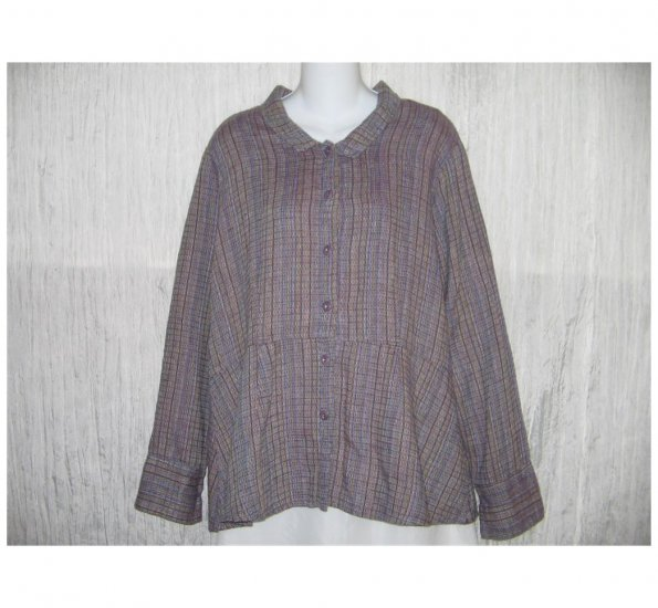 New FLAX Textured Purple LINEN Shapely Jacket Top Jeanne Engelhart Small S