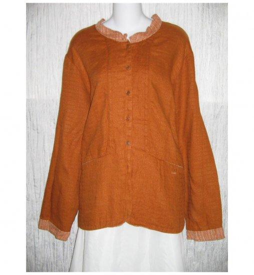 New FLAX Boxy Burnt Orange LINEN Jacket Top Jeanne Engelhart 1G