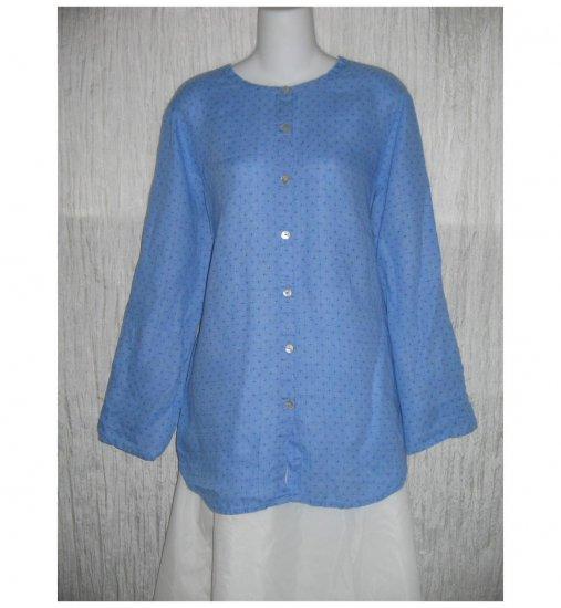 New FLAX Blue Dots Linen Button Tab Tunic Top Shirt Jeanne Engelhart S