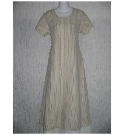 New Flax Shapely Textured Earthy LINEN Dress Jeanne Engelhart Small S
