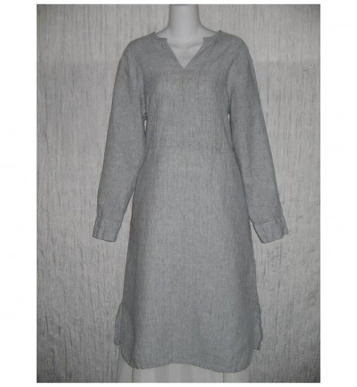 New Flax Textured Blue LINEN Tunic Dress Jeanne Engelhart Small S