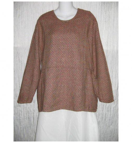 New Jeanne Engelhart Flax Red LINEN Tunic Top Shirt Small S