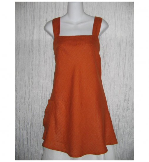 New FLAX Burnt Orange Linen Pocket Tunic Tank Top Tunic Shirt Engelhart Small S