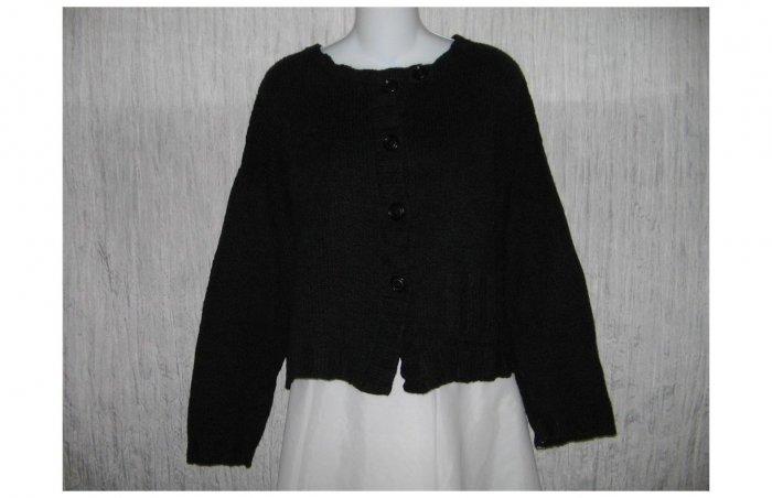 New FLAX Soft Black Pima Cotton Cropped Cardigan Sweater Jeanne Engelhart M L