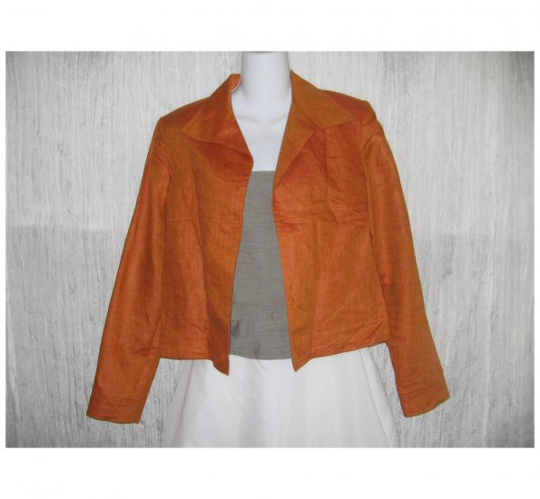 Company Ellen Tracy Orange Linen Open Front Tunic Jacket 6