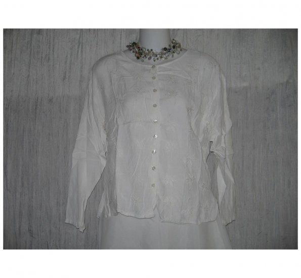 Putumayo White Embroidered Rayon Button Shirt Tunic Top Small S