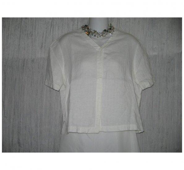 Eileen Fisher White Linen Button Shirt Tunic Top Small S