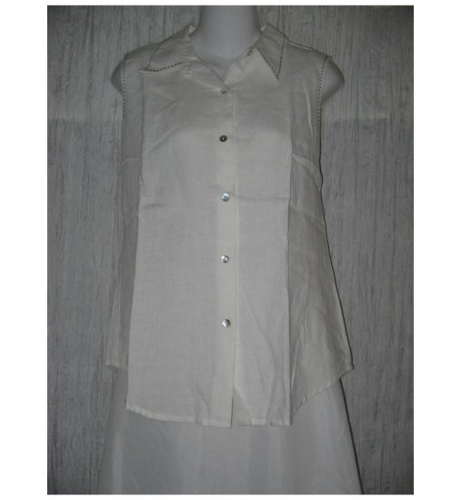 Richard Malcolm White Linen Button Shirt Tunic Top Large L