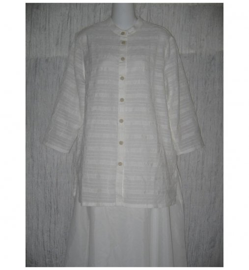 C.L.C. Sheer White Button Shirt Tunic Top Large L