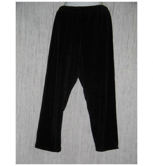 Angelheart Designs by Jeanne Engelhart Flax Black VELOR Leggings Pants Medium M