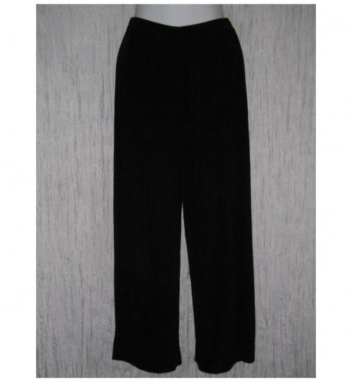 CHICO'S Travelers Long Loose Slinky Black Knit Pants Size 1 S M