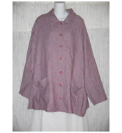Jeanne Engelhart FLAX Purple Crossweave Linen Tunic Top Shirt Jacket 2G