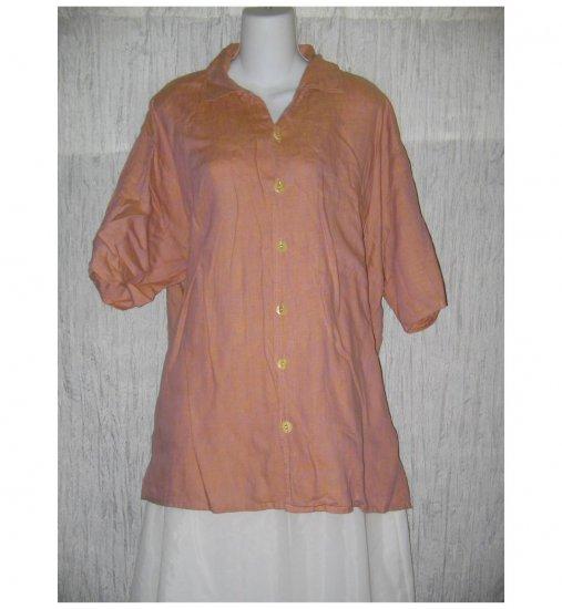 Jeanne Engelhart FLAX Pink Linen Button Shirt Tunic Top Large L