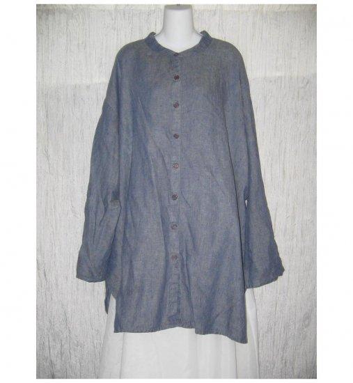 Jeanne Engelhart FLAX Blue Linen Button Tab Tunic Top Shirt Generous G