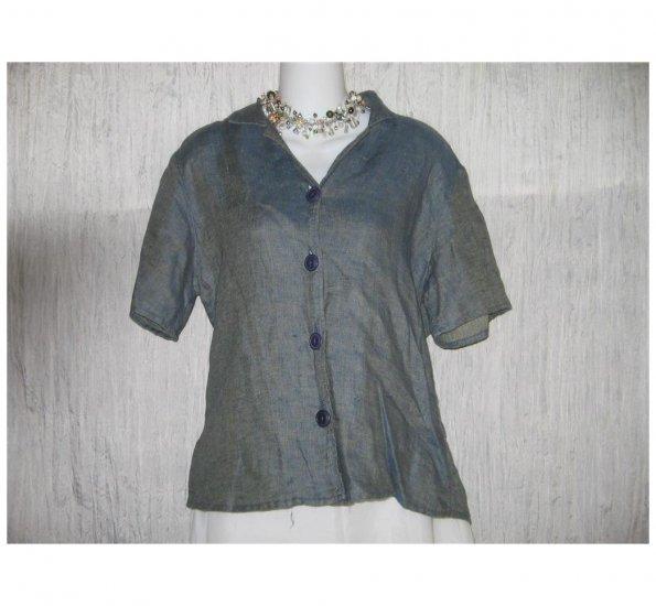 Jeanne Engelhart FLAX Blue Shapely Linen Button Shirt Tunic Top Small S