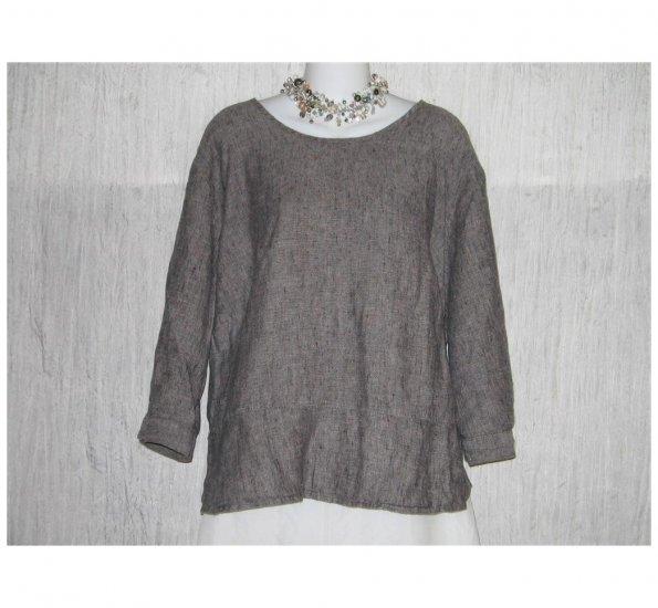 FLAX Skirted Gray Linen Pullover Shirt Tunic Top Jeanne Engelhart 1G