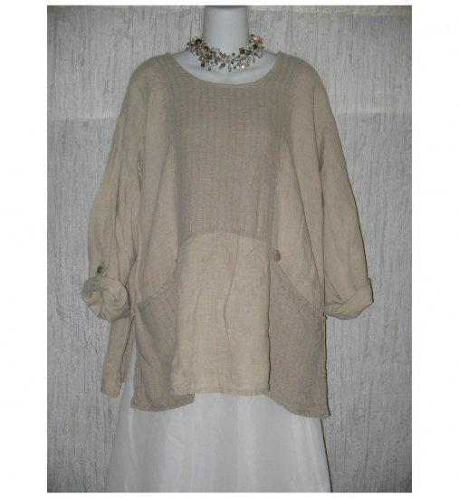 Flax by Jeanne Engelheart LINEN Picnic Shirt Tunic Top Shirt MEDIUM M