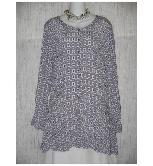 FLAX Purple Rayon Skirted Tunic Top Shirt Jeanne Engelheart Small S