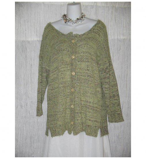 FLAX by Angelheart Soft Green Mottled French Terry Cardigan Sweater Engelhart Small Medium S M