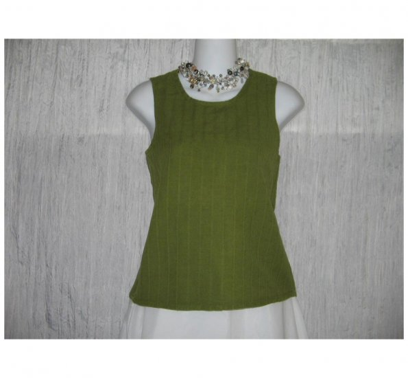 Jeanne Engelhart FLAX Green Linen Cotton Tank Top Shirt Petite P