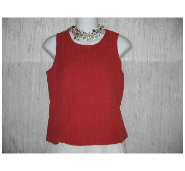 Jeanne Engelhart FLAX Red Linen Cotton Tank Top Shirt Petite P