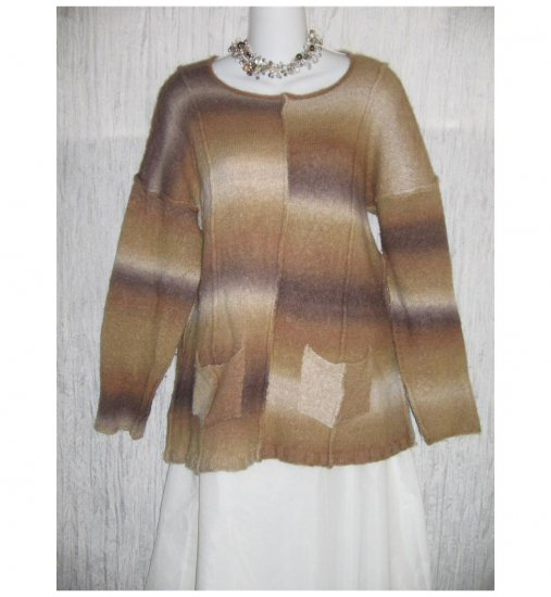 Flax by Jeanne Engelhart Sot Brown Striped Tunic Sweater Wool M L