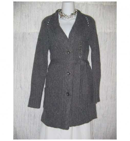 NWT GAP Shapely Gray Belted Aran Wool Cardigan Sweater Jacket Medium M