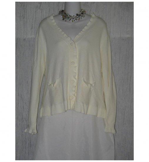 J. Jill Soft Cream Ruffle Cardigan Sweater Large L