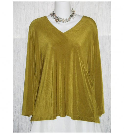 Citiknits Slinky Olive Green Tunic Top Shirt X-Large XL