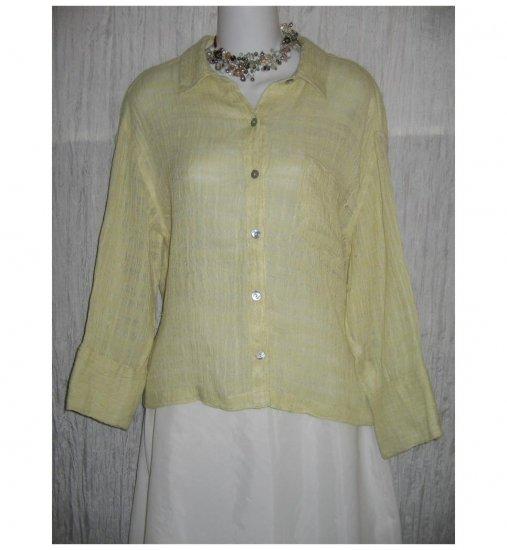 CHICO's DESIGN Pale Green Airy Linen Button Shirt Tunic Top Jeanne Engelhart 1 S
