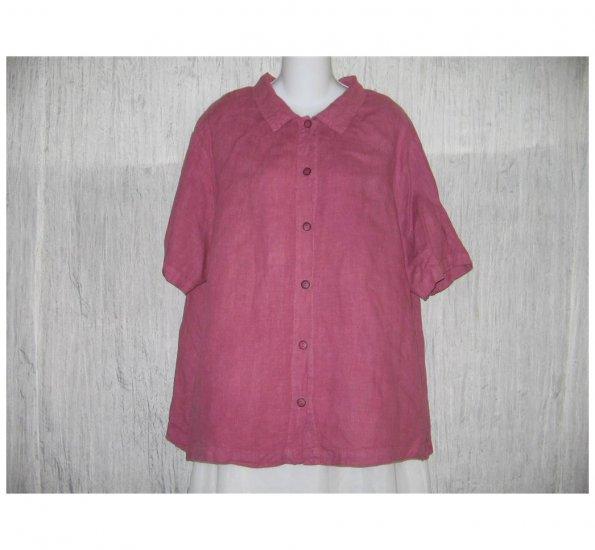 Hot Cotton by Marc Ware Pink Linen Button Shirt Tunic Top Jeanne Engelhart 1X