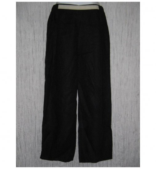 New FLAX Black Long LINEN Pants Jeanne Engelhart Small S