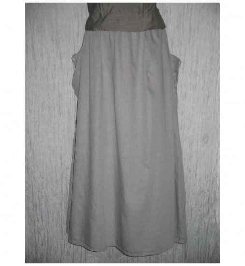 NWT FLAX Long & Full Soft Cotton Gray Pocket Skirt Jeanne Engelhart 1G