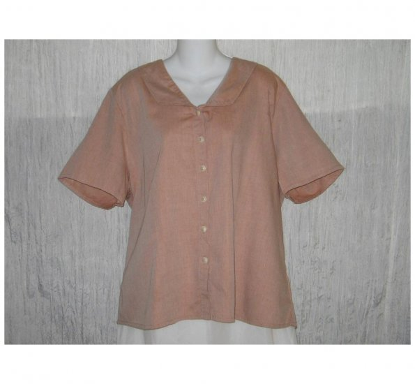 NWT FLAX Soft Cotton Blush Button Shirt Tunic Top Jeanne Engelhart 1G