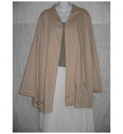 NWT FLAX Soft Cotton Beige Tunic Jacket Blazer Jeanne Engelhart 1G