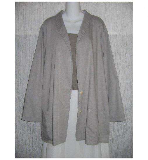 NWT FLAX Soft Cotton Gray Tunic Jacket Blazer Jeanne Engelhart 1G