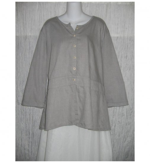 NWT FLAX Soft Shapely Cotton Gray Tunic Top Jacket Jeanne Engelhart 1G