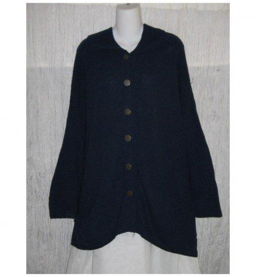 FLAX by Angelheart Blue Merino Wool Cardigan Sweater Jeanne Engelhart Generous