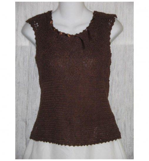 Bandolino Brown Shapely Ramie Ribbon Sweater Medium M