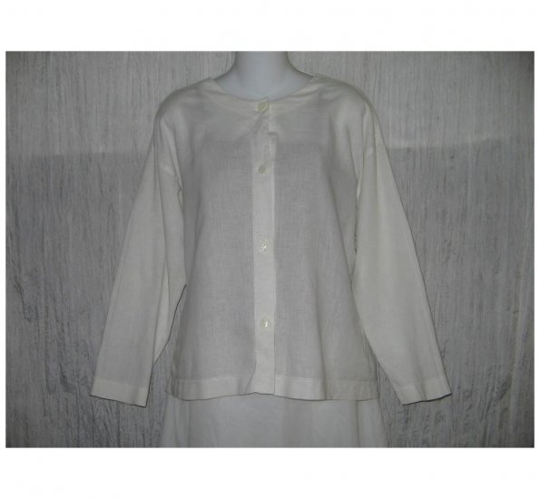 Tweeds White Linen Cotton Button Shirt Tunic Top Medium M