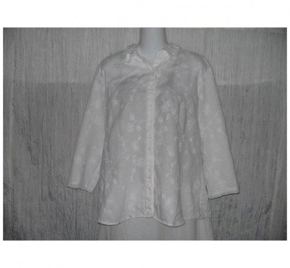 E-Col-O-Gie ecologie White Linen Button Shirt Tunic Top X-Large XL