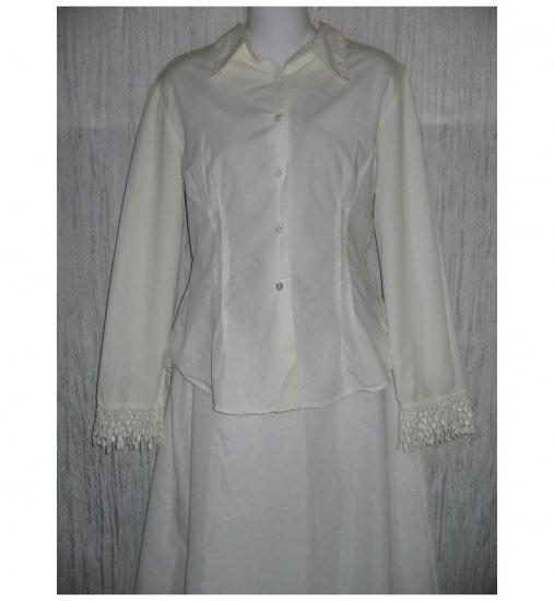 David Albow NY Shapely White Button Shirt Tunic Top Small S