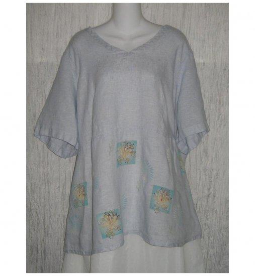 Jeanne Engelhart FLAX Blue Floral Linen Skirted Tunic Top Shirt 2G