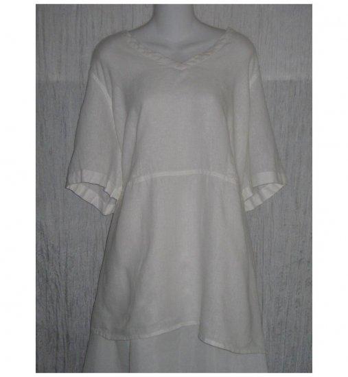Jeanne Engelhart FLAX Shapely White Linen Skirted Tunic Top Shirt 3G