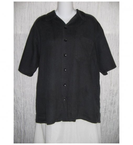 Jeanne Engelhart FLAX Black Linen Button Shirt Tunic Top Small S