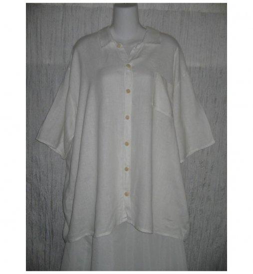Jeanne Engelhart FLAX White Linen Button Shirt Tunic Top Large L
